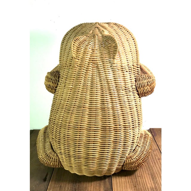 1970s Mid Century Wicker Frog Basket With Glass Marble Eyes For Sale In San Francisco - Image 6 of 9