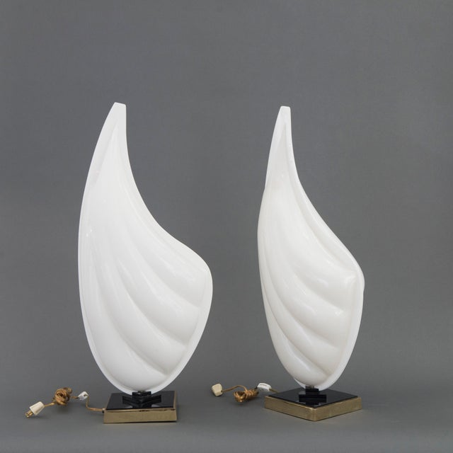 Signed Pair of Mid Century Modern Rougier Lucite / Resin and Brass Sea Shell Lamps - Image 3 of 6