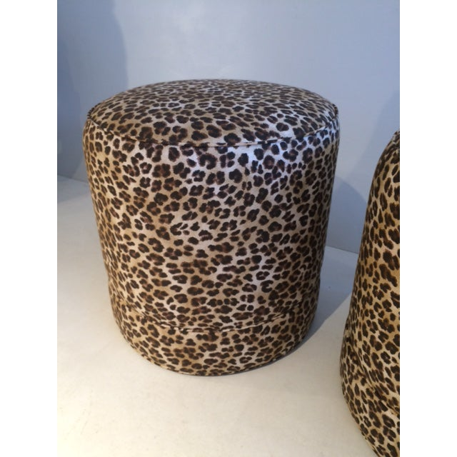 Todd Hase Namesake Leopard Print Ruth Drum Ottomans- A Pair For Sale - Image 11 of 13