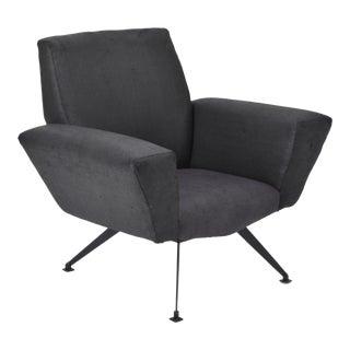 Vintage Black Italian Lounge Chair Model 548 by Lenzi, 1960s For Sale