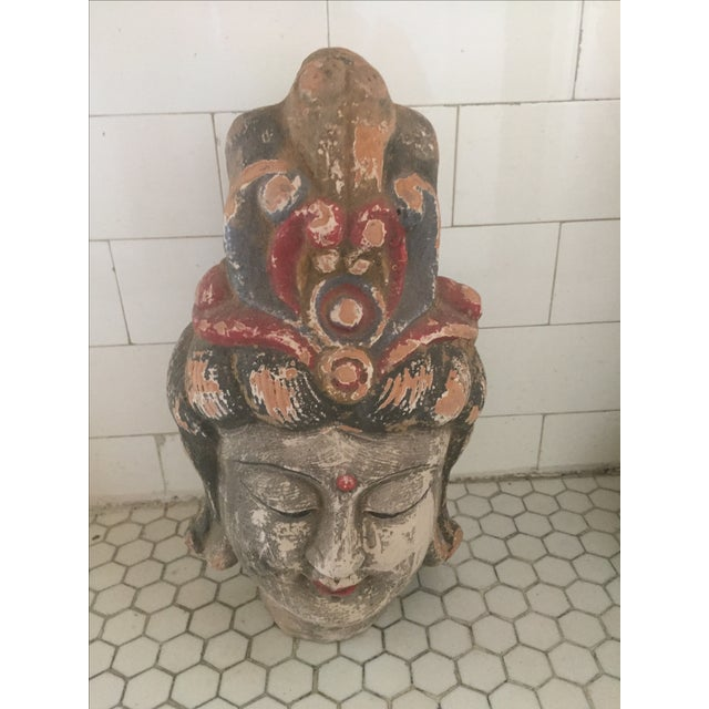 Quan Yin Terracotta Hand Painted Head For Sale - Image 4 of 10