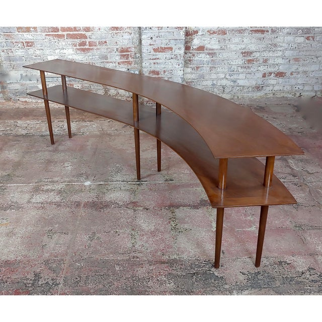 1960s Mid-Century Modern Walnut Two Tier Curvy Console For Sale - Image 12 of 12
