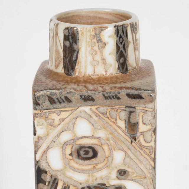 1960s Mid-Century Modernist Ceramic Danish Vase with Geometric Designs, Nils Thorsson For Sale - Image 5 of 9