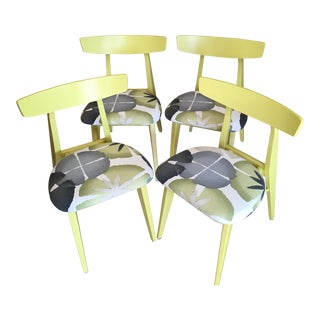 Mid Century Modern Citron Dining Chairs - Set of 4 For Sale