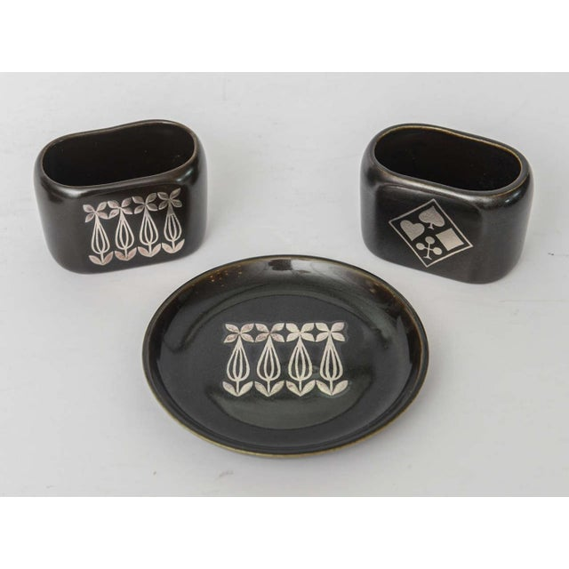 """Ceramic Collection of Gustavsberg """"Argenta"""" Ceramics in Black Glaze with Silver Inlay For Sale - Image 7 of 9"""