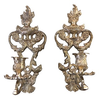 Ornate Brass Wall Sconces - A Pair