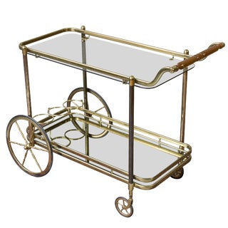 French Brass Bar Cart With Glass Shelves For Sale