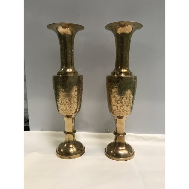 Oversized Brass Vases- A Pair - Image 2 of 6