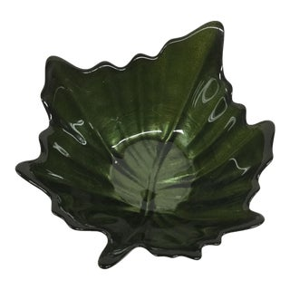Green Glass Trinket Dish Leaf Shape For Sale