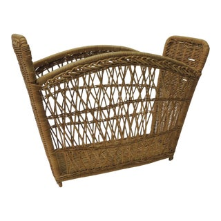 Vintage Rattan Magazine Holder or Rack For Sale