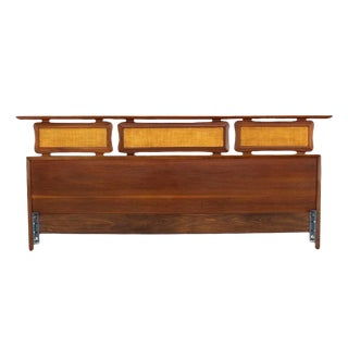 California King Walnut Sculptural Headboard For Sale