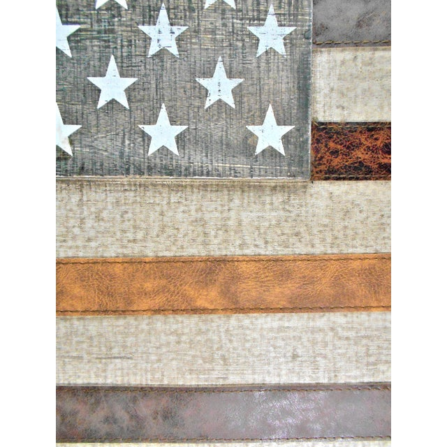 Large Rustic Wood & Leather American Flag Wall Art - Image 3 of 9