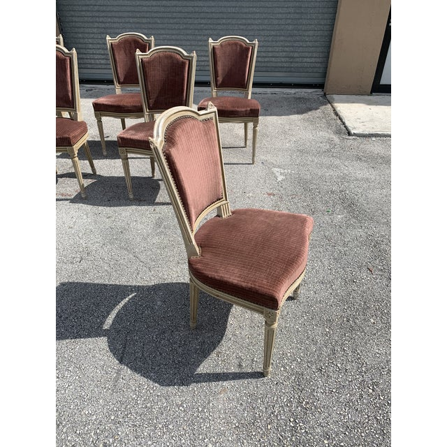 1910s Vintage French Louis XVl Solid Mahogany Dining Chairs - Set of 6 For Sale - Image 9 of 13
