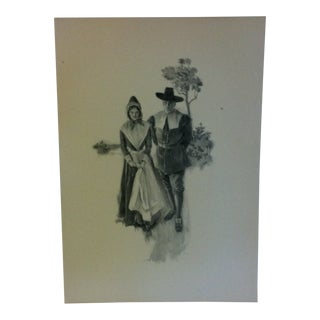 """Vintage Miles Standish Print, """"Taking a Stroll"""" by Howard Christy - 1903 For Sale"""