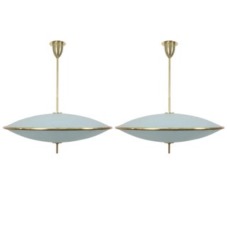 Etched Glass Chandeliers in the Style of Pietro Chiesa for Fontana Arte - A Pair For Sale