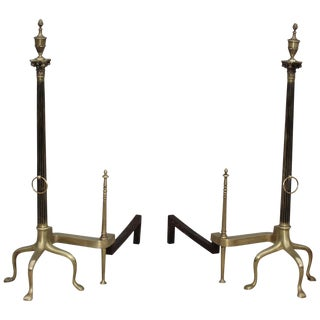 Monumental French Brass Andirons For Sale