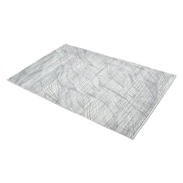 Gray Shiva, Contemporary Modern Hand Loomed Area Rug, Mist, 9 X 12 For Sale - Image 8 of 10