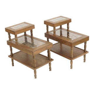 20th Century Asian Carved Design 3 Tier Step Tables - a Pair For Sale