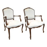 Image of Carved Walnut Louis XVI Style Armchairs - A Pair For Sale