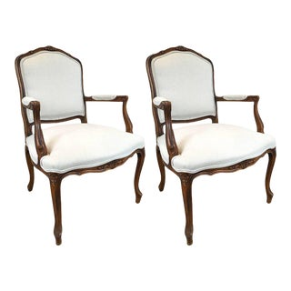 Carved Walnut Louis XVI Style Armchairs - A Pair For Sale