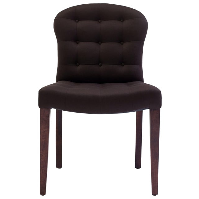 Chocolate Bisquit Tufted Dining Side Chair With Wood Legs and Balloon Shaped Back For Sale - Image 8 of 8