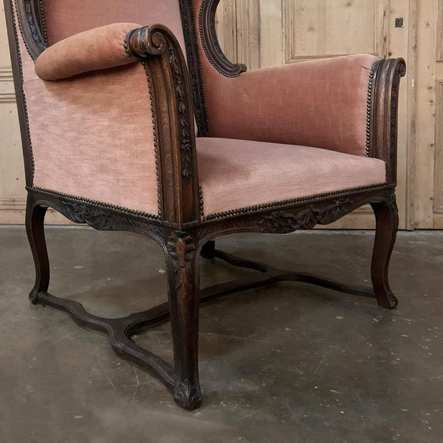 19th Century French Louis XVI Grand Armchair ~ Bergere For Sale - Image 9 of 11