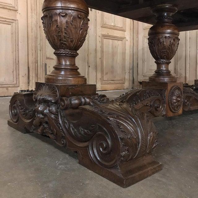 19th Century Italian Walnut Renaissance Table ~ Desk For Sale - Image 4 of 13