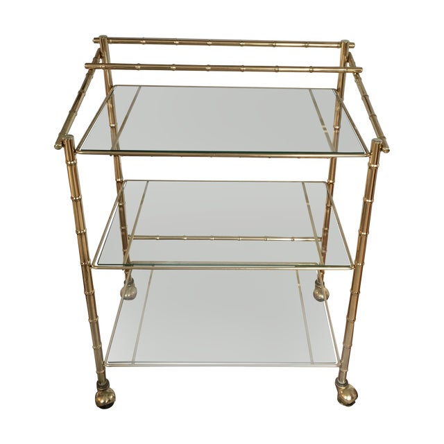 Hollywood Regency Faux Bamboo Brass Bar Cart - Image 1 of 5