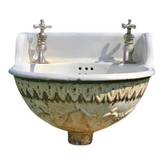 Antique 1930s Porcelain Sink For Sale