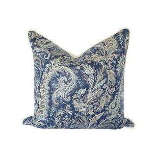 Blue & White Paisley Linen Pillow 24x24 For Sale