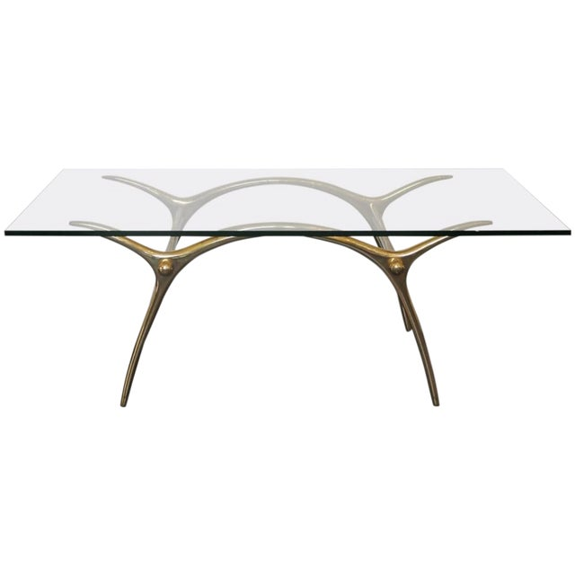 1970s Coffee Table in Glass an Polished Brass by Belgian Designer Kouloufi For Sale