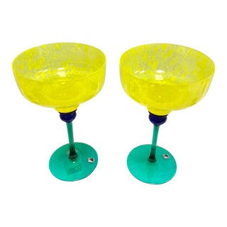 "Signed Opus ""Mardi Gras"" Yellow Margarita Glasses - Set of 2 For Sale"