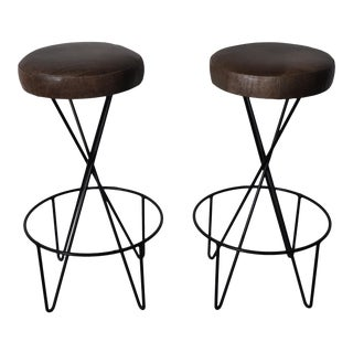 Vintage Hairpin Stools by Paul Tuttle for Modern Color in Distressed Leather - a Pair For Sale