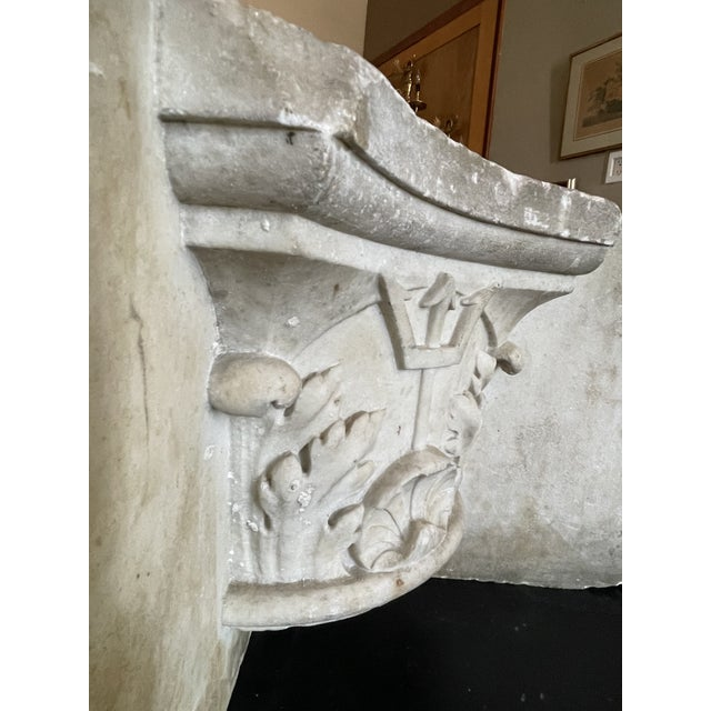 Antique Renaissance Era Marble Cornice Section Poseidon Trident Over Sea Shell For Sale - Image 9 of 13