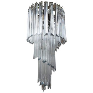 1960s Art Deco Clear Murano Glass Prism Spiral Chandelier For Sale