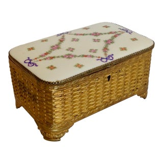19th Century Gilt Metal and Porcelain Box For Sale