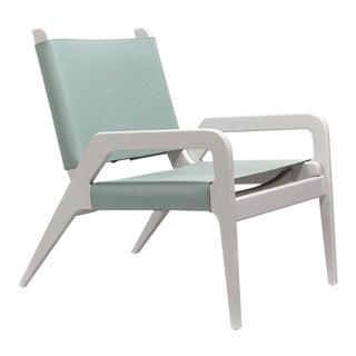 Turquoise & White Birch Armchair by Jacobo Ventura For Sale