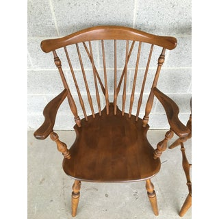 Ethan Allen Windsor Brace Back Nutmeg Dining Chairs - a Pair Preview