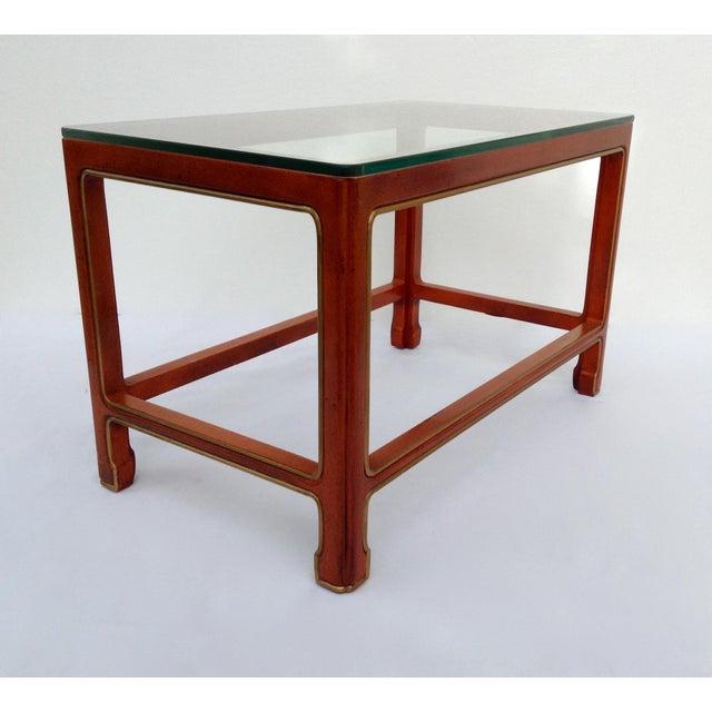 Kindel Furniture Vintage Kindel Asian Chinese Orange Lacquer Tea Table For Sale - Image 4 of 11
