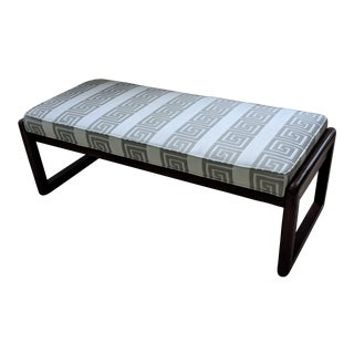 Large Upholstered Bench - Greek Key Fabric For Sale
