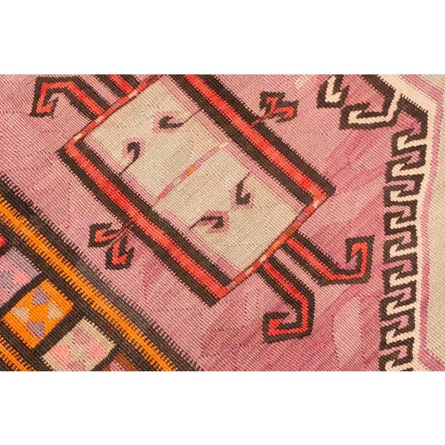 Mid 20th Century Vintage Mid-Century Geometric Wool Kilim Runner - 5′1″ × 14′9″ For Sale - Image 5 of 8