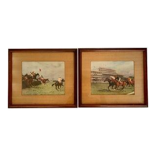 Vintage Traditional Horse Race Framed Prints - Set of 2 For Sale