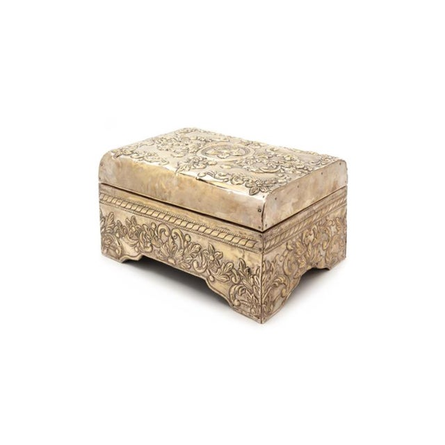 Baroque A Silver-Clad Table Casket 20th Century the Domed Hinge Top Centered With a Paterae Among Foliate Scrolls. For Sale - Image 3 of 3