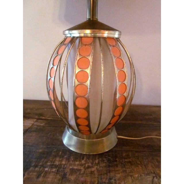Mid Century Modern Orange Dot Brass Lamp - Image 7 of 9