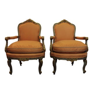 Vintage Louis XVI Style French Fauteuils- A Pair For Sale