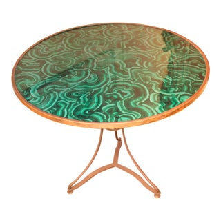 20th C. French Faux Painted Malachite Table For Sale