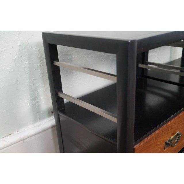 Tung Si Ebonized Black Teak Nightstands - Pair For Sale - Image 9 of 10