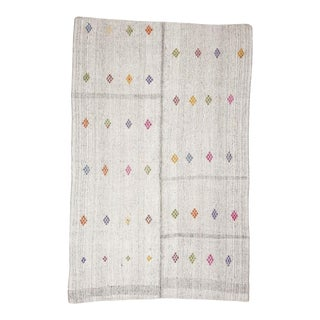 Mid 20th Century Vintage Gray Embroidered Kilim Rug For Sale