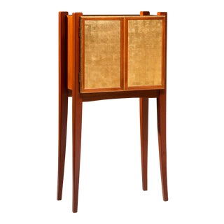 Jewel Case - Mahogany Jewelry Cabinet With 23k Gold Leafed Doors and 11 Fitted Drawers