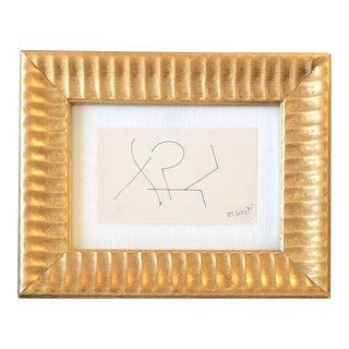 Original Vintage Robert Cooke Miniature Abstract Ink Drawing Framed 1980's For Sale